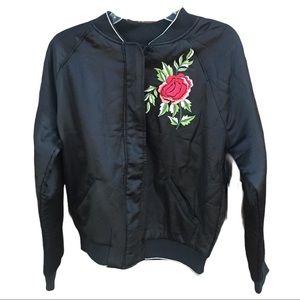 Embroidered Black Satin Bomber Jacket Size Medium